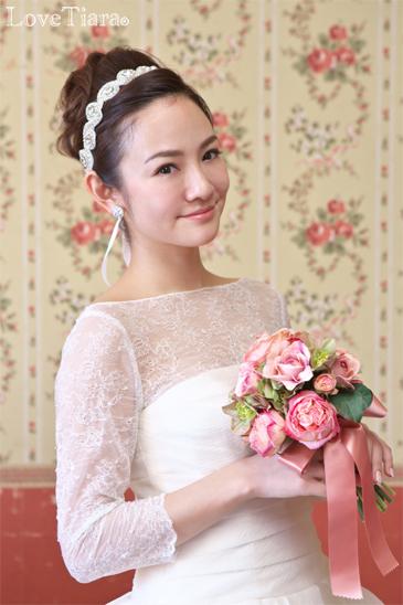着用画像 カチューム リボンカチューシャ ウェディング 結婚式